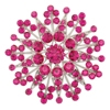 Small Flower Brooch - Fuchsia (Silver Plated)