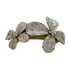 Two Flower Hair Clip - Clear (Gold Plated)