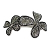 Two Flower Hair Clip - Black