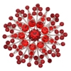 Flower Brooch - Red (Silver Plated)