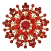 Flower Brooch - Red (Gold Plated)