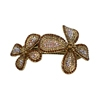 Two Flower Hair Clip - Brown